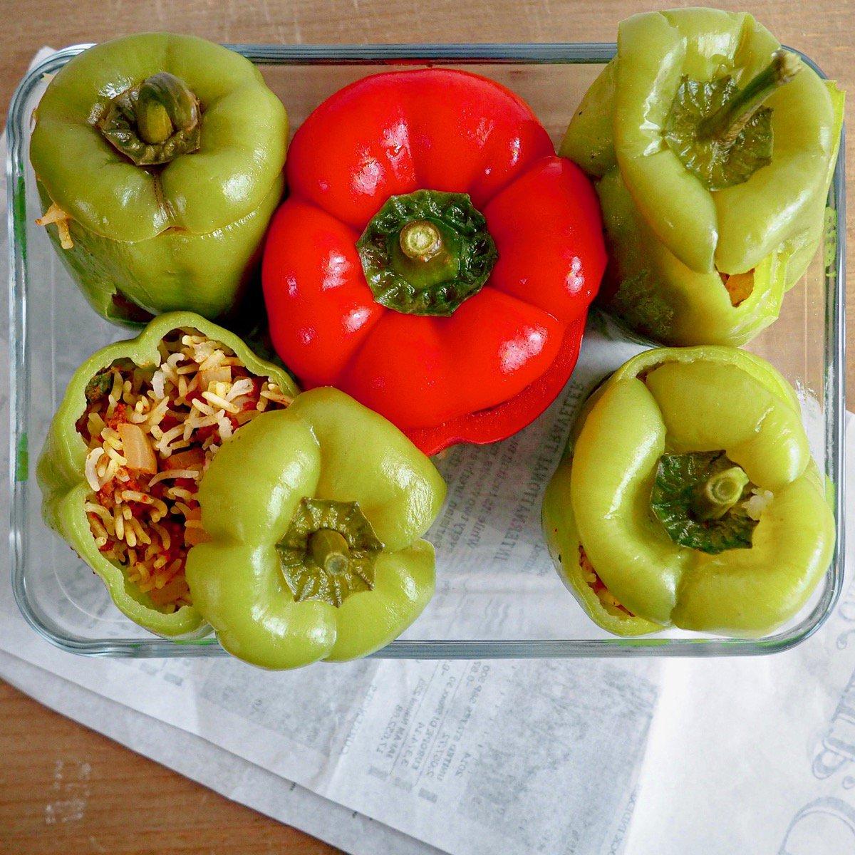 Glutenvrije Turkse gevulde paprika's