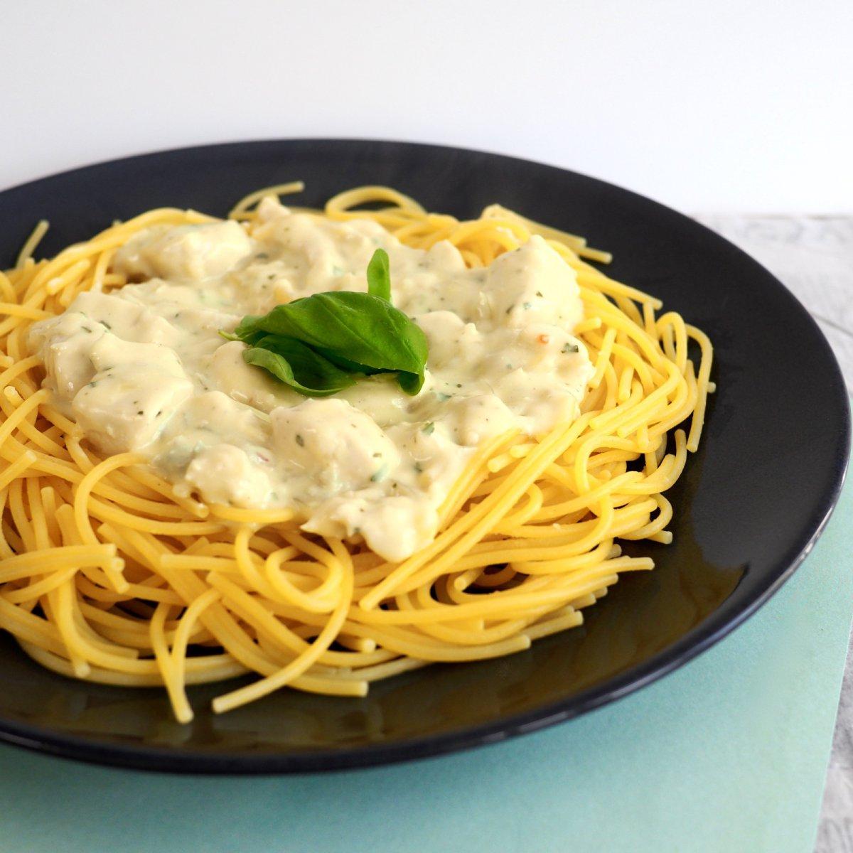 Glutenvrije pasta met gorgonzola en kip