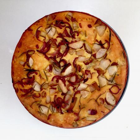 Glutenvrij maisbrood met ui en peer